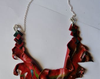 Fashion necklace, handmade polymer clay