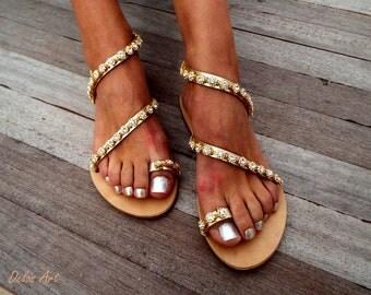 Crystal golden flower Bridal sandals, Leather sandals, White Beach Wedding Sandals, wedding shoes, luxury sandals, Greek Sandal