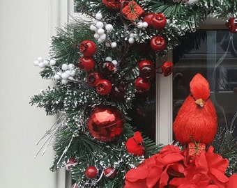 Cardinal Wreath, Christmas Wreath, Winter Wreath,Red and White Wreath, Holiday Wreath, Christmas Decor, Front Door Wreath