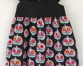 Halloween Baby Dress, Pumpkin Dress, Sugar Skull Baby Dress, Little Girls Dress, Baby Girls Dress, Flutter Sleeve Dress