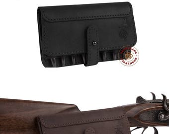 Cartridge Holder Leather, Leather Belt Cartridge Holder, Cartridge Wallet, Shell Pouch Rifle cal 7.62 Winchester Norma Magnum
