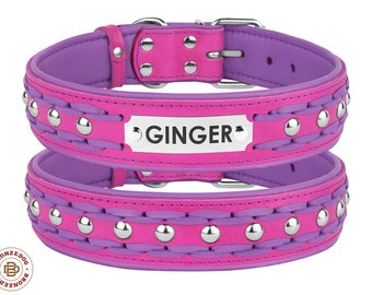 Personalized Pink Dog Collar Leather Braided Studded Extra Large Purple