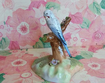 1950s Denton China Budgie Ornament - Hand Modelled - Made in England - Ceramic Bird