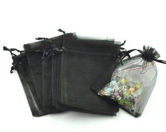 15 9x7cm black Organza bags
