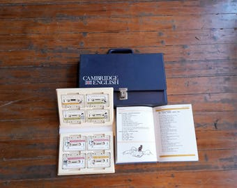 Vintage Cambridge English Teaching Bag W/ Books & Audio Tapes