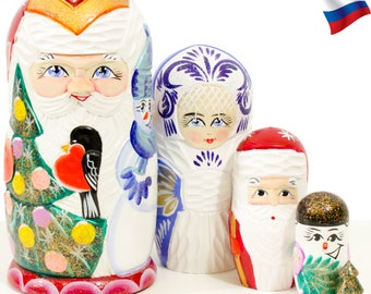"Nesting Doll - ""Santa and Friends - Winter Bird"" - Carved wood design - 5 dolls in 1 - MEDIUM SIZE - Hand-painted in Russia"