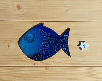 Ceramic fish wall decor, handmade, holiday, wedding favor, wall composition