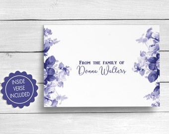 Funeral Thank You Cards, Bereavement Cards, Sympathy Acknowledgement Cards, Blue Floral Funeral Cards, Personalized Funeral Note Cards