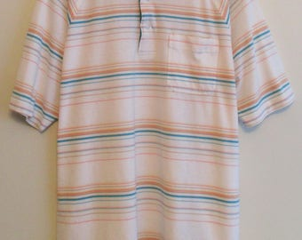 80's Jack Nicklaus White w/ Multi-Color Striped Winged Collar Golf Polo