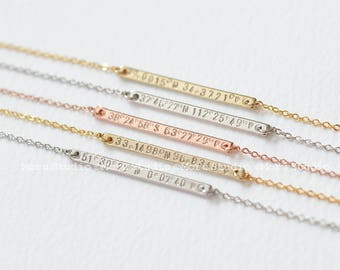 Personalized Coordinates Skinny Bar Necklace/ Latitude Longitude Necklace, GPS Coordinates, Location Necklace, Graduation Gifts 167