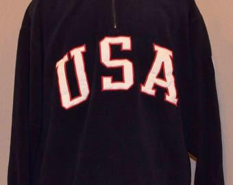 Classic 90's Ralph Lauren Polo Sport USA Fleece Half Zip Pullover XL X-Large Blue