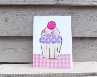 Stitched Greetings Card Handmade From Fabric Cup Cake TEA PARTY Birthday Cake with Spotty Cherry Pinks & Purple