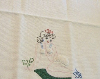 Vintage Towel Pinup Tip Risque Padded Assets Kitsch Tatted