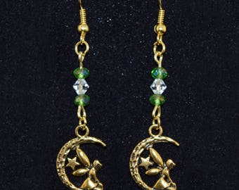 Fairy Earrings - Moon - Star - Geeky Jewelry - Antique Bronze - Tinkerbell - Geeky Earrings - Green - Clear - Glass - Crystal - Gift for Her