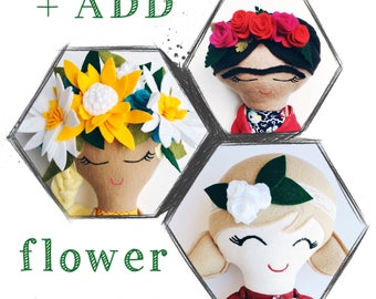 FLOWER CROWN, add to custom doll, add-on only, hipster doll, heirloom doll, handmade cloth doll, rag doll, mermaid flower crown, girl hair