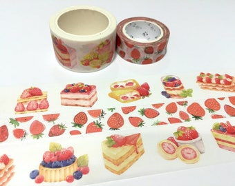 strawberry dessert washi tape 7M x 2.5cm berry dessert recipes pretty cake blueberry homemade cake dessert party invitation sticker tape