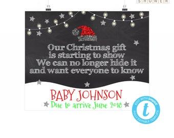 Christmas Pregnancy Announcement Sign, Christmas Baby Announcement, Christmas Reveal, Christmas Templett, Christmas Chalkboard, 16x20 8x10