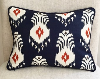Blue and white 12 x 16 Ikat lumbar designer pillow with decorative blue trim, stain resistant decorative pillow, throw pillow, cushion