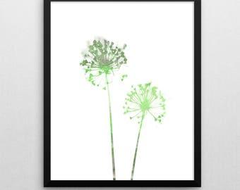 Green Dandelion Print, Minimalist Poster, Botanical Print, Flower Wall Art, Scandinavian Print, Printable Art, Boho Decor, Minimalist Art