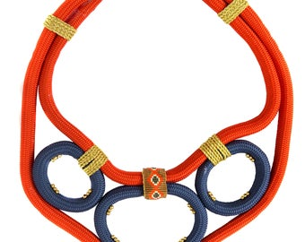 Rope and Delica Bead Tribal Statement Bibb Necklace in Orange, Navy Blue and Gold