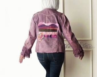 Plus size artsy jacket, Dyed purple, shabby chic, size 16-18, country chic, Upcycled, unique quilted applique, canvas coat, crochet lace