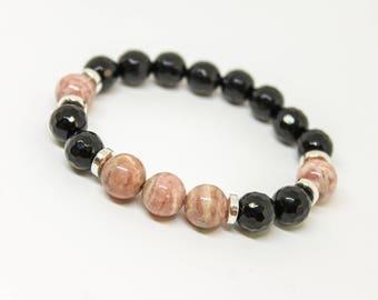 8mm Rhodochrosite and Onyx Bracelet Womens Beaded Bracelet Bracelet for Women Gemstone Bracelet Beaded Bracelet Stretch bracelet