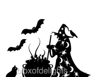 Halloween witch and cauldron svgs for instant digital download