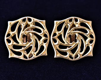 Vintage Geometric Square Cut Out Earrings Clip On Gold Tone Retro Costume Jewelry 1""