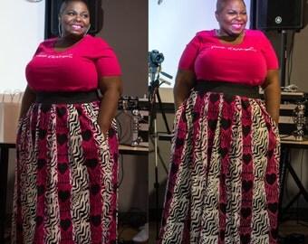 African Hearts Maxi Skirt with Pockets, African Print Skirt, African **READ DESCRIPTION**