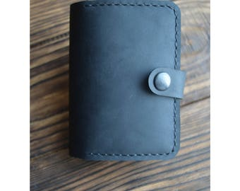 Leather Card Holder, Leather CardHolder, Black Leather Card Case, Leather Credit Card Wallet, Minimalist Mens Womens Case for 20 Cards