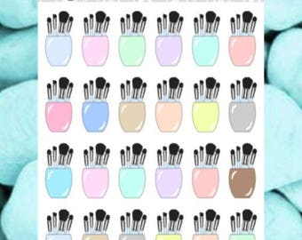 Makeup Brushes / Holder Planner Stickers - also available in Kawaii