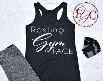 Resting Gym Face. Funny Workout Tank. Resting Gym Face Tank. Workout Tank. Funny Gym Tank. Cardio Tank. Gym Tank. Funny Gym Tank (F21)