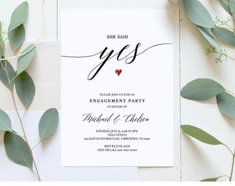 Printable Engagement Party Invitation Template, She Said Yes, DIY Rustic Engagement Announcement, Instant Download, 100% Editable #034-103EP