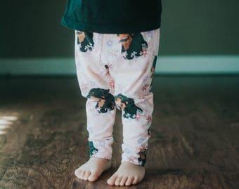 Handmade Baby Leggings - Floral Rottweiler Leggings - Dog Lover Baby Leggings - Boy Leggings- Girl Leggings - Toddler Leggings  - Rottweiler