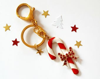 Keychain/Ring Christmas/candy cane gold/red