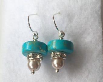 Turquoise earrings.  Sterling silver turquoise earrings.  Handmade turquiose earrings.