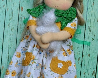 """Textile Waldorf baby doll for kids Lada 14,57"""" (37 cm) READY TO SHIP"""