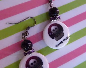 Pearl Earrings in Platinum rock game over skull black white and purple