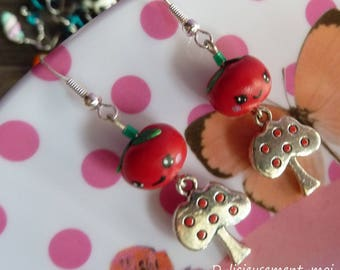 Earrings in 925 sterling silver Red Apple face kawaii polymer clay fimo and Apple charm
