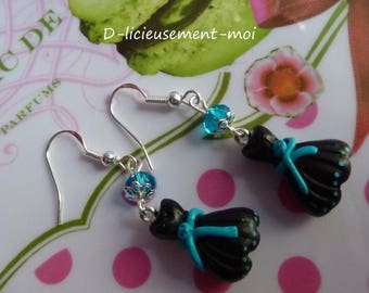 Earrings in 925 sterling silver little black dress made of polymer clay fimo and Pearl faceted turquoise blue