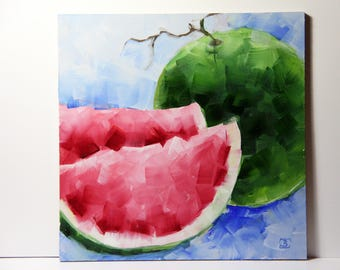 Watermelon original oil painting, Watermelon art, home decorative oil painting, Christmas gifts, Bobapainting
