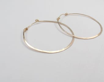 Medium Gold Hammered Hoops #638