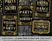 Gatsby 5 Poster Pack - INSTANT DOWNLOAD - Printable Wedding & Birthday Party Art Deco 1920s Sign - 3 sizes of each design included
