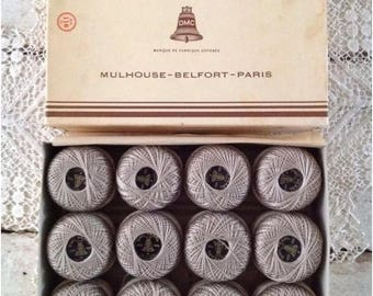 Full Box of Vintage Taupe Dollfus-Mieg & Co Thread