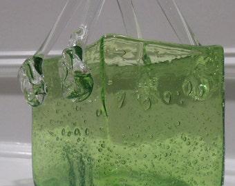 Murano Glass Purse - Green Art Glass = Hand Blown Flower Accent Handles