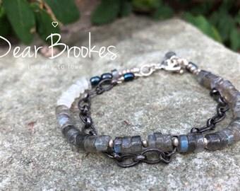 Multi Strand Bracelet. Sundance Style, Labradorite Bracelet, Gemstone Bracelet