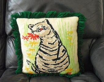 Vintage Decorative Throw Pillow for Cat People, Mischievous Cat Needlepoint, Sofa Couch, Gift for Cat Lover, Needle Point, Home Accent Decor