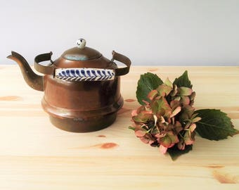 Antique Copper with Porcelain Delft Blue Handle & Knob Tea Pot Kettle  - G. Bredemeijer Hilversum - Holland