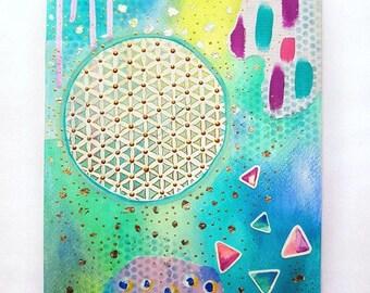 Flower of life art - sacred geometry artwork - Mixed media painting - spiritual art - geometric wall art - bohemian style - hippie decor