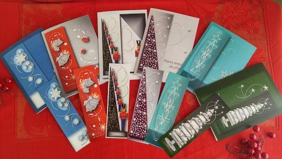 6 Cartes de Noël/Rabais 40%/Cartes formes géométriques/Triangles énergétiques/Cartes avec signet/Noël/Cadeau de Noël/Arbre de Noël